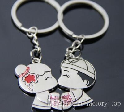 DHL Casual Paar Liebe Keychain Cartoon Schlüsselanhänger Liebhaber Schlüsselanhänger Frauen Hochzeit Gunsten Schmuck Zubehör Valentines Weihnachtsgeschenk