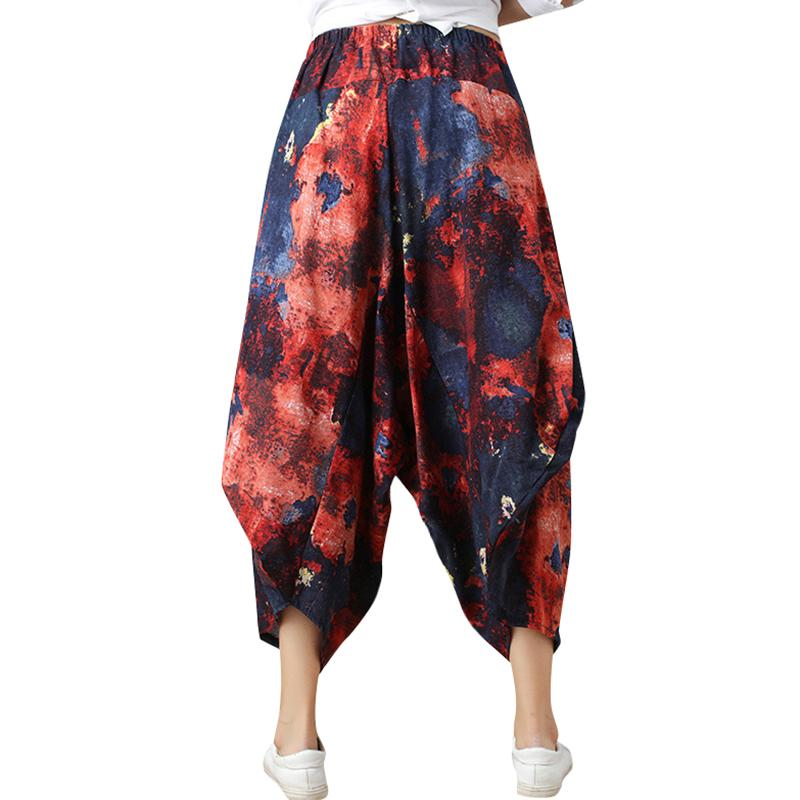 ab1cabee9dd 2018 Summer Woman Loose Baggy Pants Retro Print Elastic Waist Casual  Cropped Harem Trousers Wide Leg Casual Pants Office Lady Online with   45.74 Piece on ...