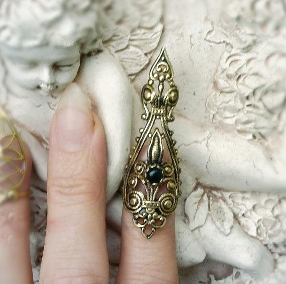 Punk Raven's Dire Nail Ring Claw Ring Vintage filigree jewelry for womne  with box LQ0040