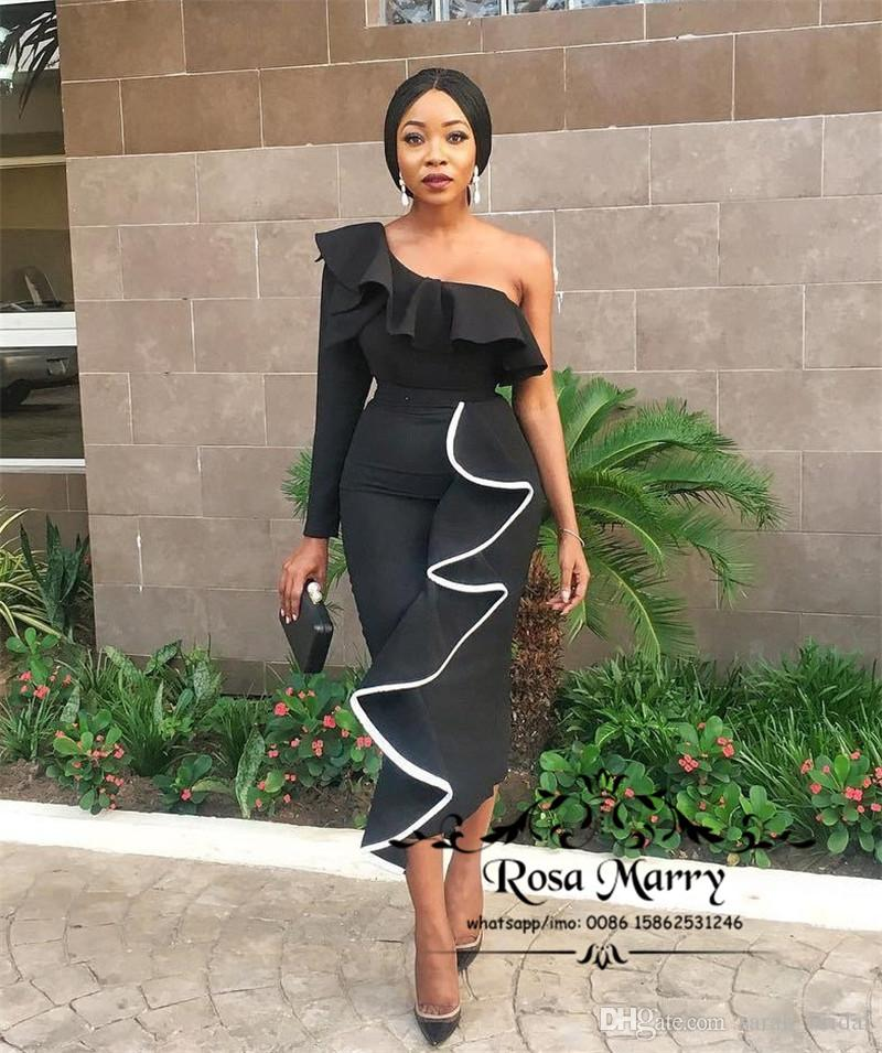 1c6e764f470 Sexy Dubai Black Mermaid Cocktail Party Dresses 2018 One Shoulder Long Prom  Dresses Cheap Ruffle African Arabic Women Plus Size Evening Gown Nice  Cocktail ...