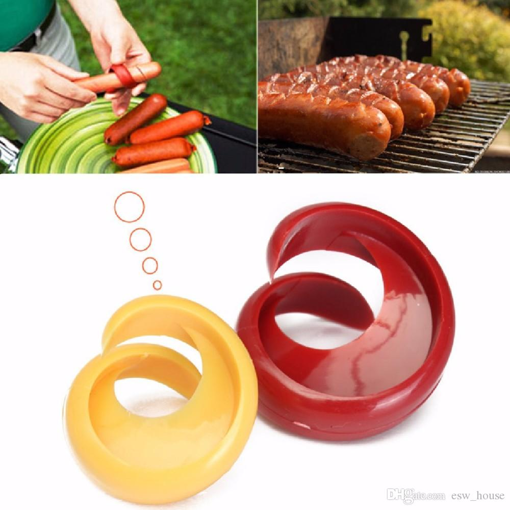 Nuevo manual Fancy Sausage Cutter Spiral Barbecue Hot Dogs Cortador Slicer cocina Corte Auxiliar Gadget Fruta Verduras Herramientas Envío gratis