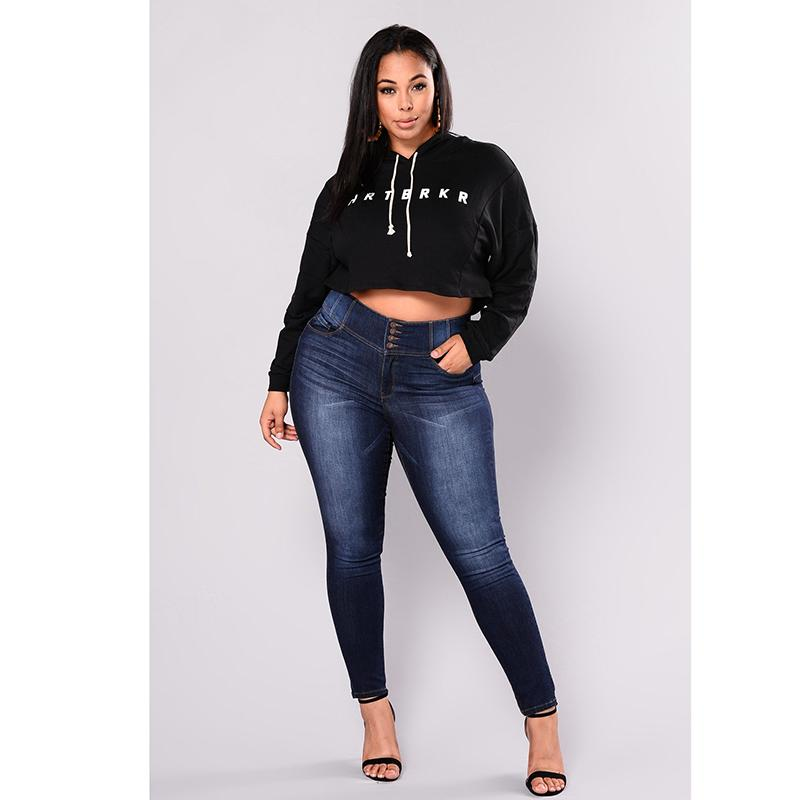 58c7760384e9 2019 New Arrived High Waist Pencil Jeans For Women Stretchy Dark Blue  Button Fly Denim Skinny Pants Trousers Big Hip Jeans PLUS SIZE From  Sadlyric