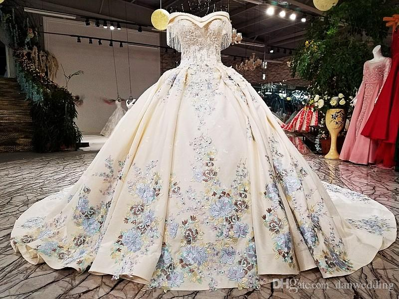 Artistic Light Champagne Applique Skirt Beads Ball Gown Wedding Dresses Bridal Dresses Events Dresses Custom Size 6 8 10 12 W307090