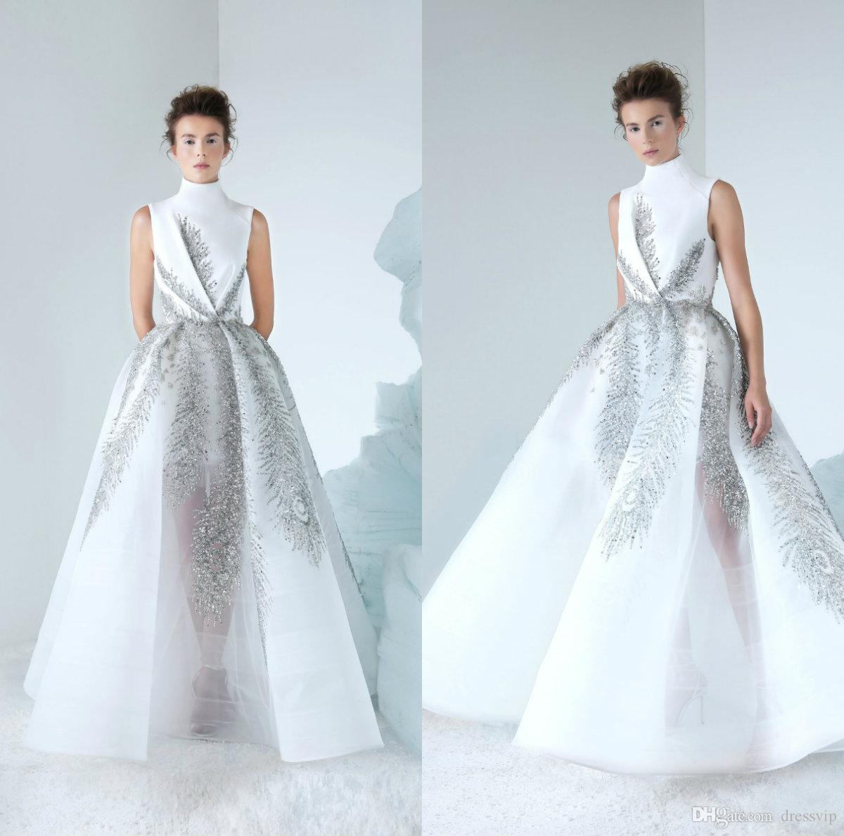 0c0a1a34586 2019 Azzi Osta Lebanon Prom Dresses High Neck Luxury Beads Sequins Tulle  Floor Length Evening Dress Party Wear Custom Made Formal Gowns Evening  Dresses ...