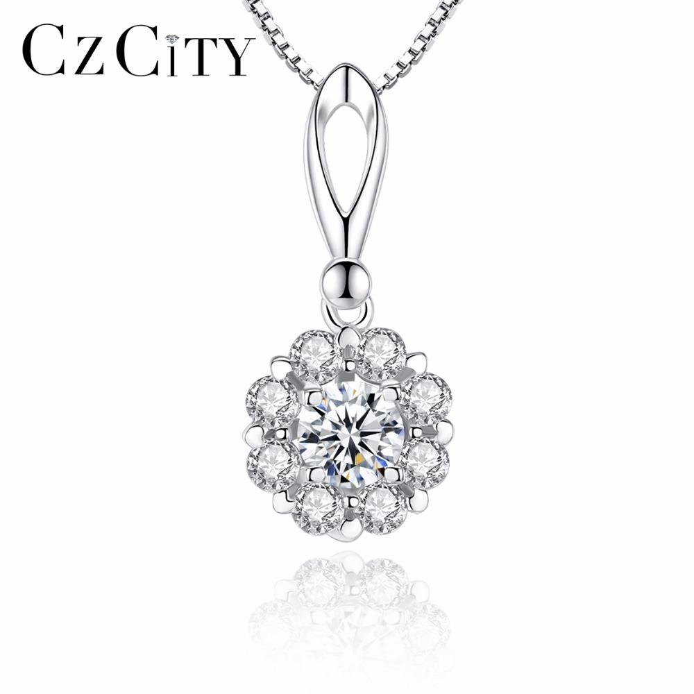 CZCITY Charm Shinning Petal Cubic Zirconia Classic 925 Sterling Silver Pendant Necklace for Women Chain Necklace Y18102910