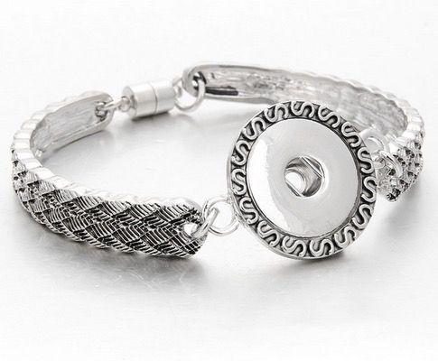 Sıcak Satış Yapış Takı Gümüş 18mm Yapış Düğmeler Bilezik Çiçekler Oyma Vintage Yapış Kadınlar Erkekler için Bilezikler Bilezik Bileklik