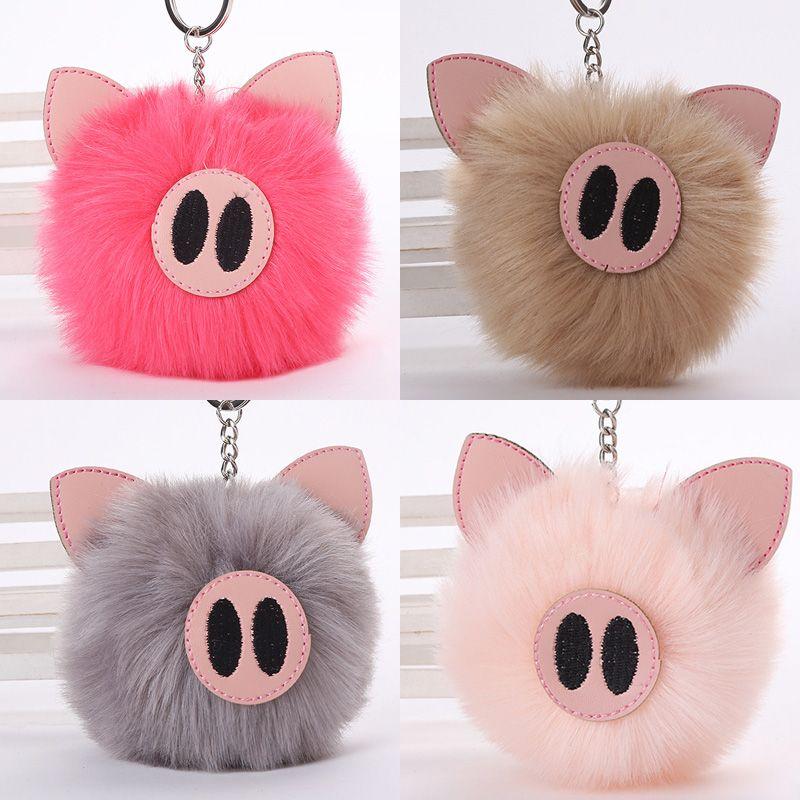Imitated Rabbit Fur Pig Pompom Ball Keychain For Women Fashion Jewelry Car  Bag Fluffy Key Ring Fluffy Pendant Gifts Monkey Fist Keychain Personalized  ... 79286998d2