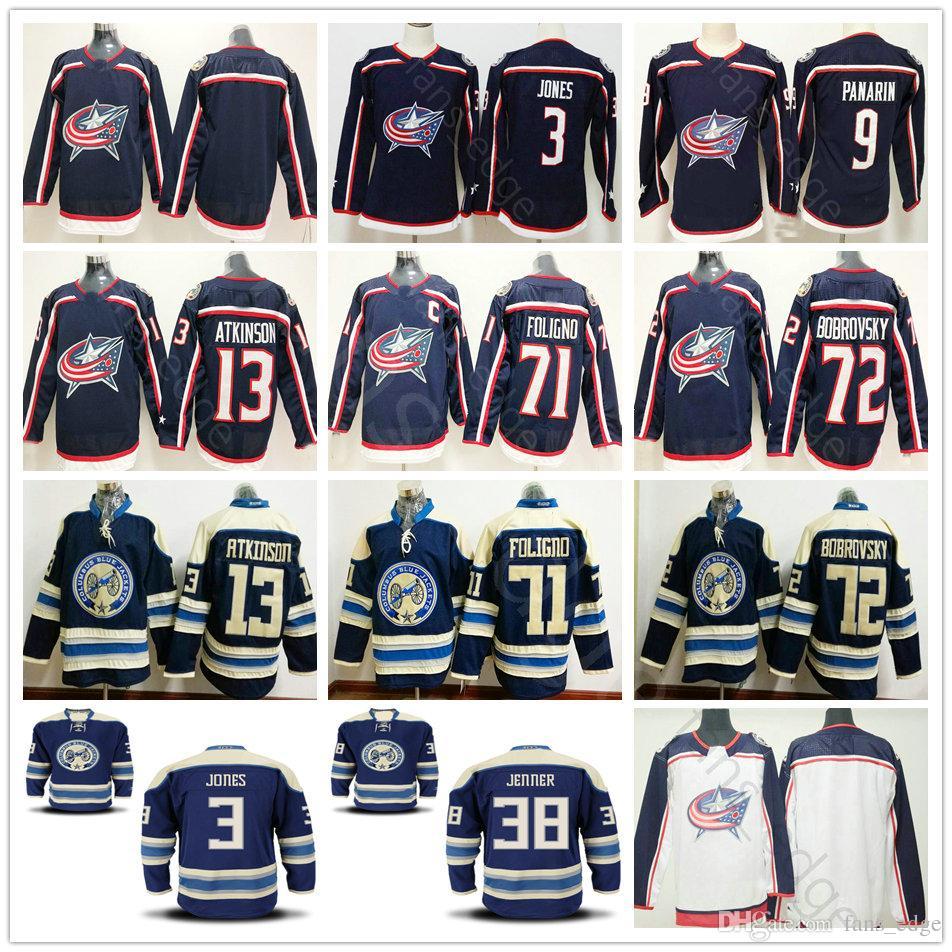 affb84766 2018 New AD Columbus Blue Jackets Hockey H Jones 9 Artemi Panarin 13 ...