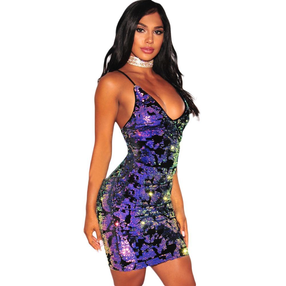 cd0448e4e9a9c Sexy Femmes Étincelante Robe De Paillettes Robe À Col V Sans Manches Dos Nu  Bandage Moulante Soirée Clubwear Violet