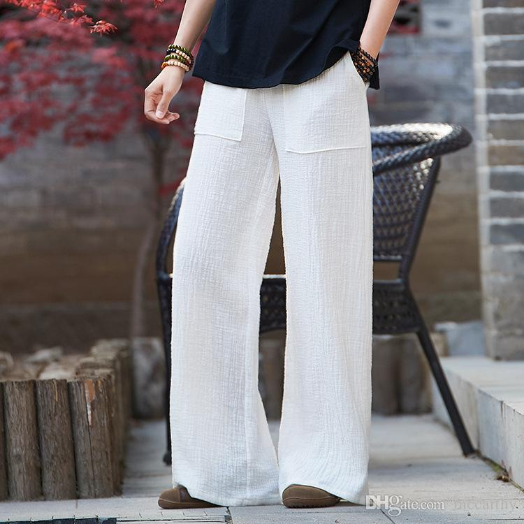 d5dada5c1c9d67 Pantalon large pour les femmes, plus la taille taille élastique blanc kaki  coton lin taille haute lâche casual pantalon capris femelle sgy0806