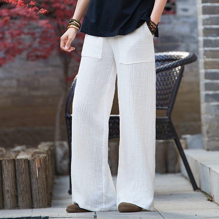 2019 Wide Leg Pants For Women Plus Size Elastic Waist White Khaki ...