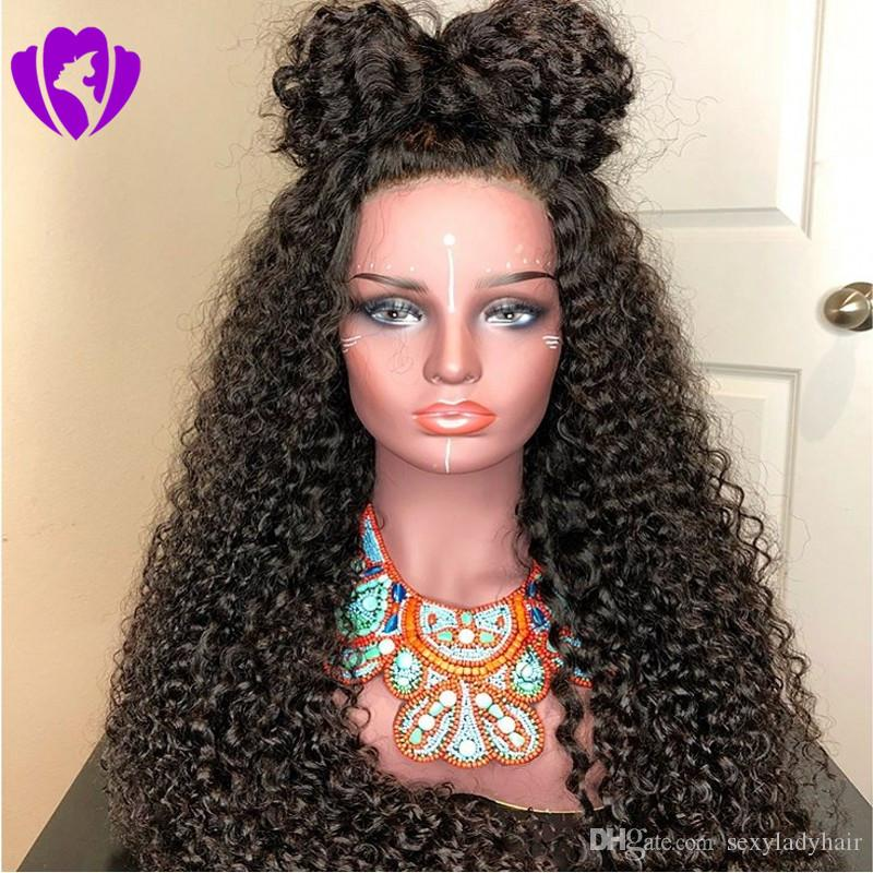180density Full Simulation Human Hair Kinky Curly Lace Wigs Natural Black  Long Lace Front Wigs Synthetic With Baby Hair For Black Women Theatrical  Wigs ... bd89c7494d86
