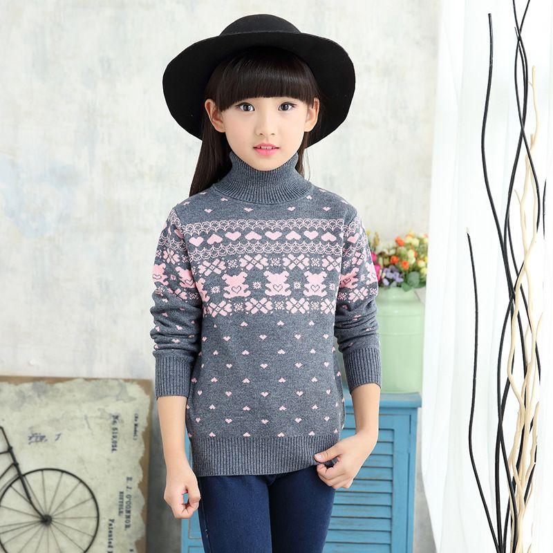 8fa591c8f8c42 Teenage Girls Sweater 2018 Autumn Girls Princess O Neck Turn Down Collar  Love Pattern Sweater Baby Boy Sweater Designs Free Knitting Patterns Girls  Cardigan ...