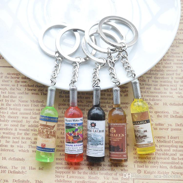 Simulation Beer Bottle Keychains Beverage Bottle Key Rings For Bag Car Purse Pendant Key Holder Random Color Send FBA Drop Shipping G731Q
