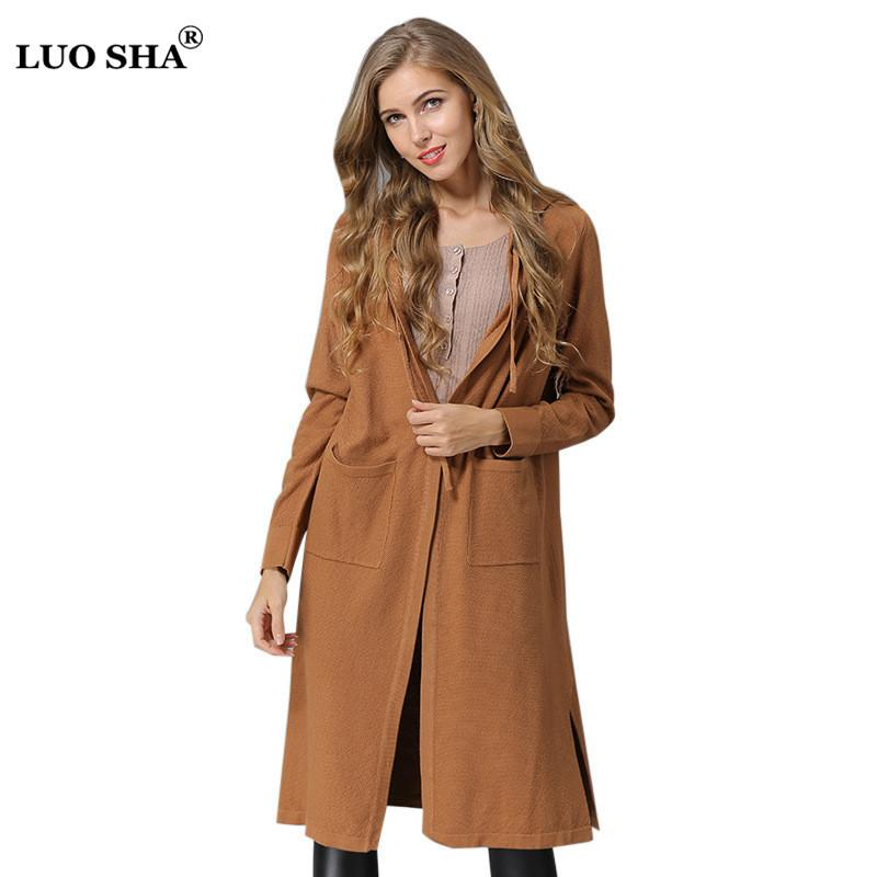 aad964352 2019 LUOSHA 2018 Autumn Winter Women Knitted Hooded Tie Long ...