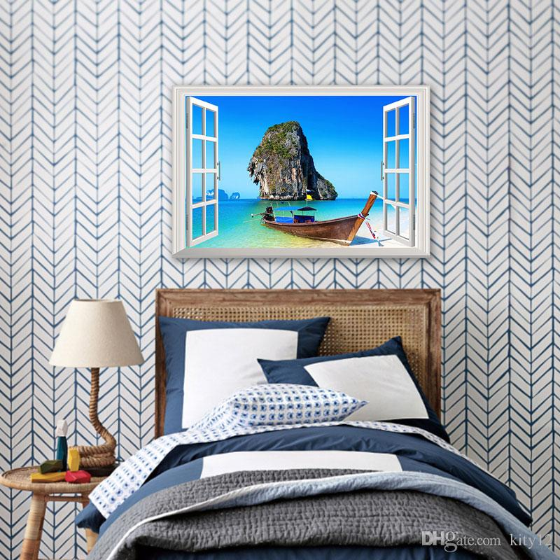 3D Window View Blue Sea Home Decor Wall Sticker Creative Scenery Living Room Office Decals Stickers