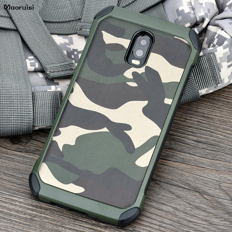 buy popular 09779 1cd48 Case for Samsung Galaxy J7 Plus Army Camo Camouflage Pattern PC TPU 2 in1  Anti-knock Back Cover for Samsung C8 / J7 Plus bags