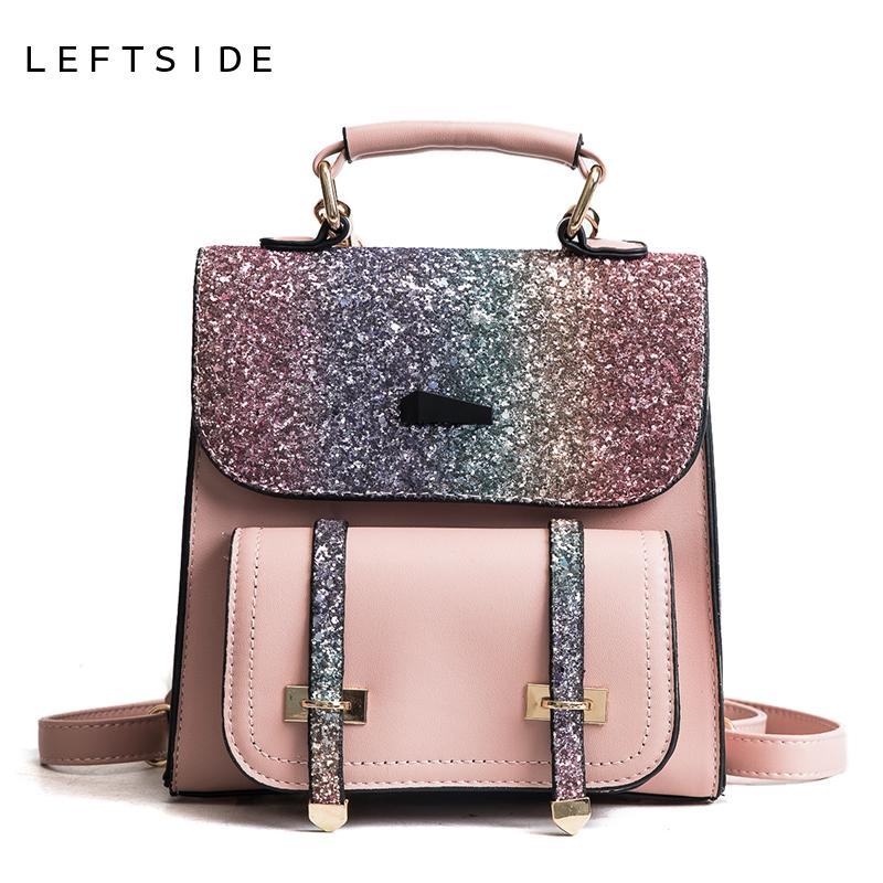 9aa69bd9b6 LEFTSIDE 2018 Sequins Small Backpack Women Female Bling Shiny Small Leather  BackpacTeenage Girls Mini Travel Back Pack Bags Leather Backpacks One Strap  ...