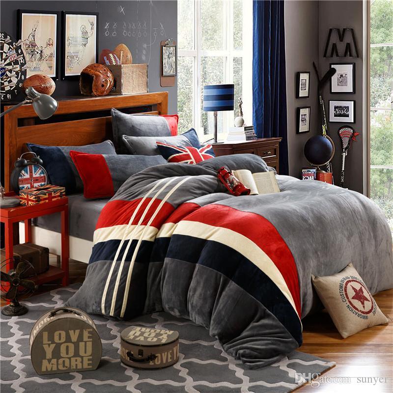 Großhandel British Style Flanell Bettwäsche Set Winter Warme