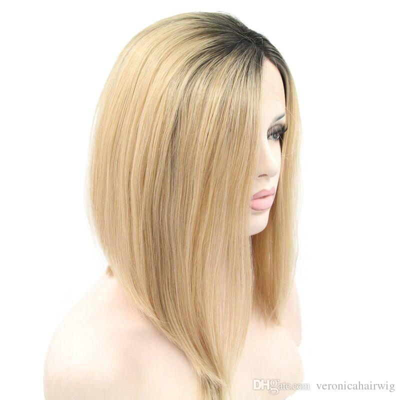 Dark Root Ombre Blonde Natural Short Bob Haircut Synthetic Lace