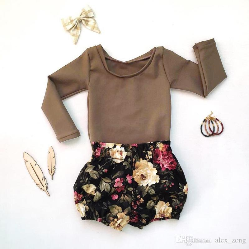 0432ccfb7 2018 Baby girls long sleeve T shirt outfits 2pc sets brown T shirt+black  floral bloomer lace waist shorts sets for toddlers