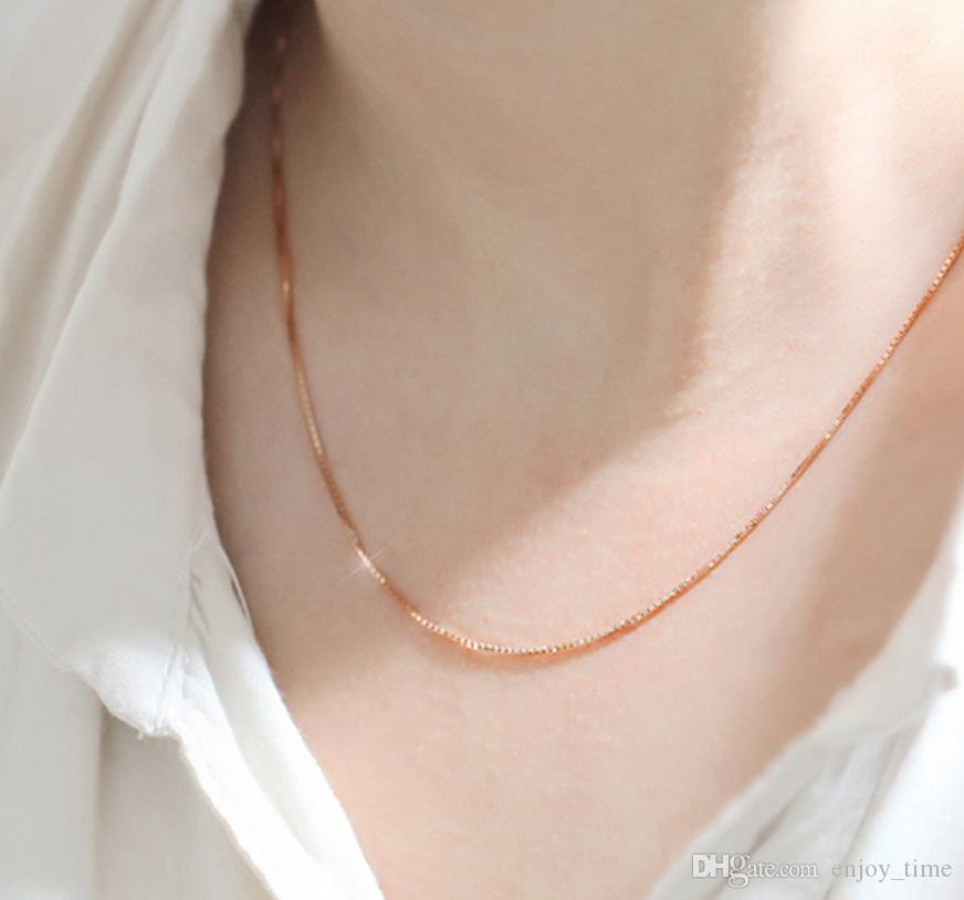 Rose Gold Plated Box Chain Chains Jewelry Findings 1mm 18 inches Link Chain Necklace jewelry for women