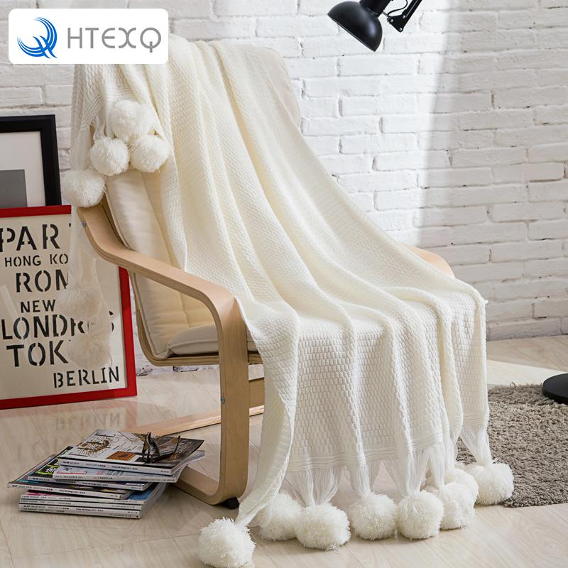 Htexq Pom Pom White Throw Blanket Luxurious Lovely Lounge Cover Fascinating White Pom Pom Throw Blanket