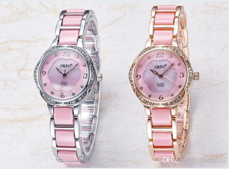 Керамический браслет часы тонкий моды дамы кварцевые часы 44555