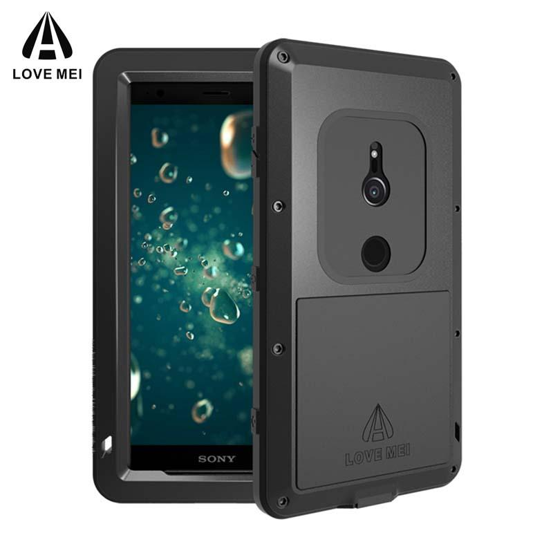 uk availability 3f259 5b24d Love Mei Powerful Case for Sony Xperia XZ2 / XZ2 Compact Waterproof  Shockproof Aluminum Case Cover for XZ2 Free Tempered Glass