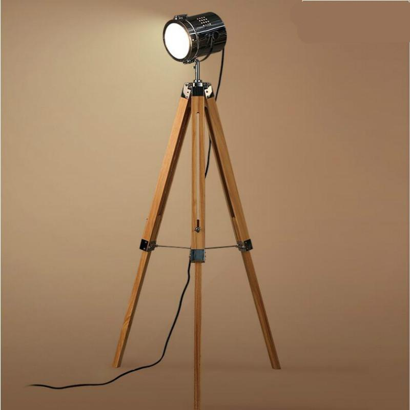 2018 american retro vintage loft wooden metal tripod led e27 2018 american retro vintage loft wooden metal tripod led e27 searchlight floor lamp for photography workshop living room 140cm 1211 from yuancao aloadofball Gallery