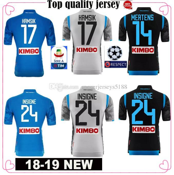 f6f1bb2f82cbc 2018 2019 Serie A Naples New Napoli Camisetas De Fútbol De Local Camisetas  Azules De Fútbol De Napoli Camiseta De Hombre 18 19 HAMSIK L.INSIGNE PLAYER  ...