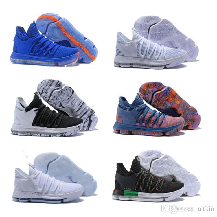 aff85b2537d7f Acheter 2018 Nouveau KD 10 Enfants Chaussures De Basket Ball Grands Enfants  Gris Blanc Couleur Chaussures De Sport Pour Enfants Livraison Gratuite De   52.8 ...
