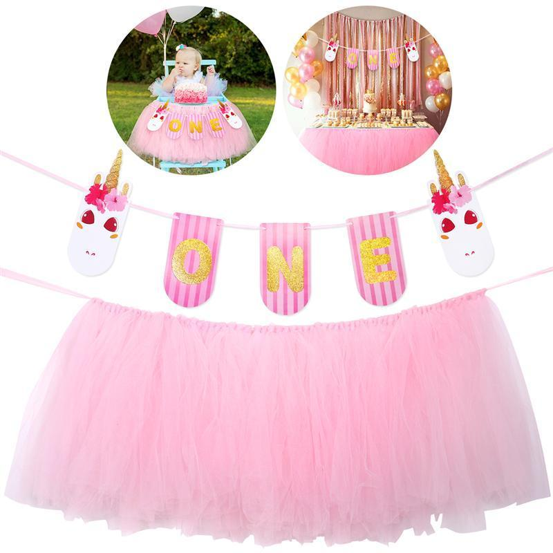 2019 Baby 1st Birthday Pink Tutu Skirt For High Chair Decoration