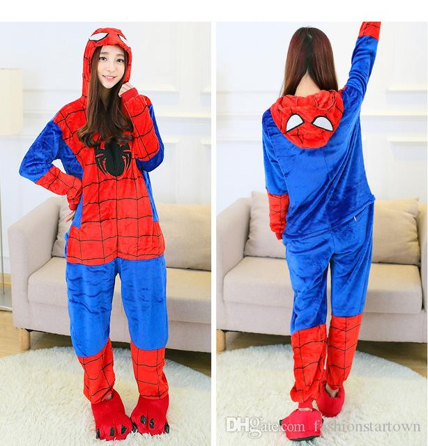 c875cb2eeb4e Unisex Spiderman Onesies Adults Pajamas Kigurumi Flannel Hooded Cosplay  Boys Girl Kids Onesie Sleepwear Costumes Women Men Animal Pyjamas Canada  2019 From ...