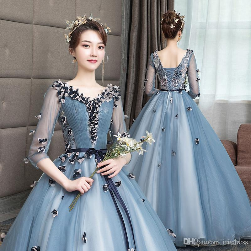 1040139f29e 2019 Ball Gown Quinceanera Dresses V Neck Appliques Lace Gowns For Sweet 15  Vestidos De 15 Anos Girls Prom Party Dress Customized