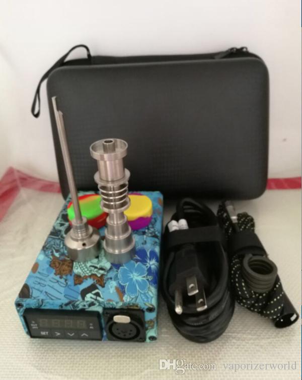 Portable Quartz Enail kit Electric dab Nail PID Temperature Control E nail Kit Wax Vaporizer 14 18MM Oil Rig Box Glass Bong