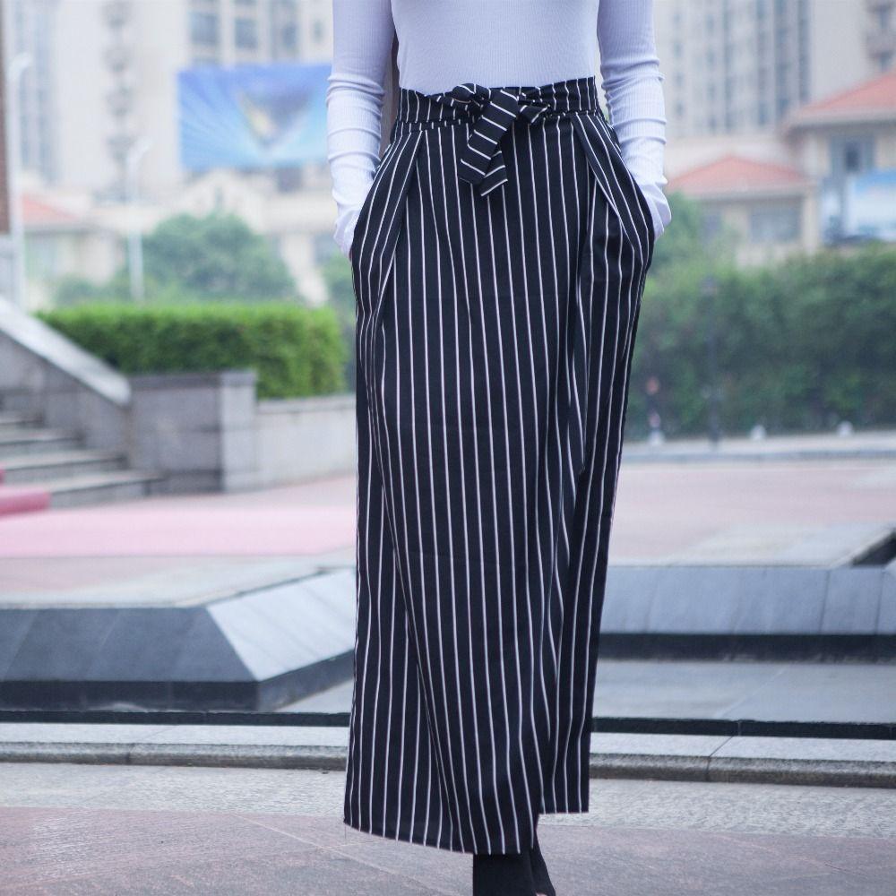 53844f09e Faldas mujer moda 2018 Faldas de verano para mujer Faldas musulmanas largas  a rayas Jupe Longue Femme Dubai Falda islámica turca con bolsillos