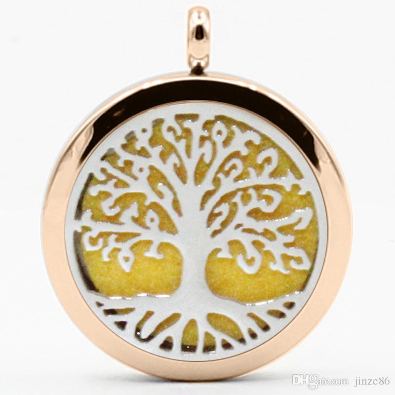 Новая мода ароматерапия эфирное масло диффузор дерево шаблон кулон ожерелье из нержавеющей стали 316L полые духи медальон кулон ювелирные изделия