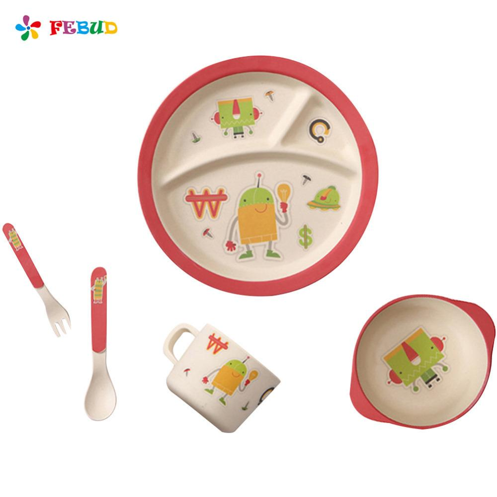 Bamboo Fiber Cartoon Printing Plate Childrenu0027s Degradable Five-piece Tableware Set Forks Spoon Cup Tableware For Children Tableware for Children Plate Child ...  sc 1 st  DHgate.com & Bamboo Fiber Cartoon Printing Plate Childrenu0027s Degradable Five-piece ...
