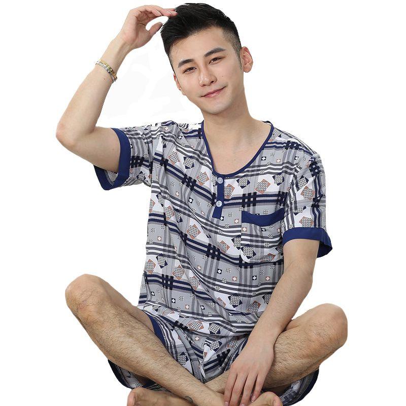 e7fe7546b1 Compre Pijamas De Algodón Para Hombres Set Summer Plus Size Ropa De Dormir Manga  Corta Para Hombre ShirtPant Ropa Informal Para El Hogar L 3XL Intimate ...