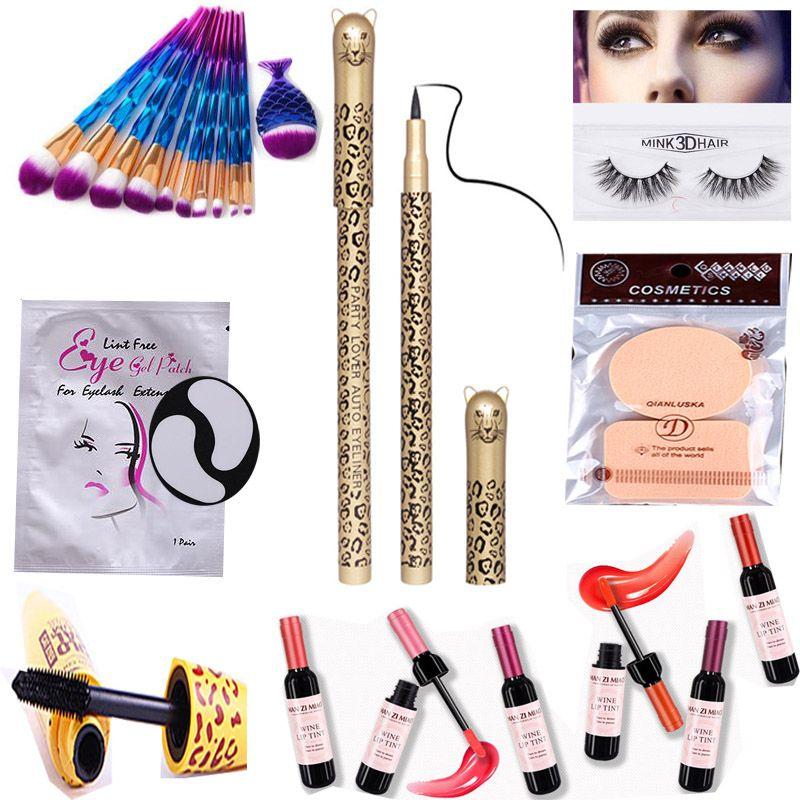 Makeup Sets Tool Make Up Brushes Mink Eyelash Red Wine Bottle