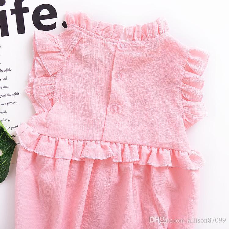 2019 Ins Ropa para bebés Mamelucos Ruffles sin mangas Dulce niñas mono corto 100% algodón rosa Verano