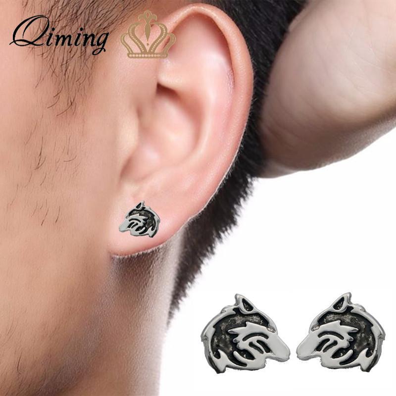 9775b985d QIMING Wolf Pendant Stud Earrings Men Jewelry Accessories Vintage Women's  Earrings Cool Animal Head Punk Slavic Gift