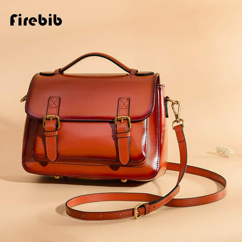 8398a57fb790 FireBib Women Tote Bag For Women Handbags Oil Wax Leather Retro ...