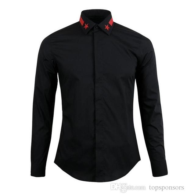 3c3ad60729e 2018 Men Slim Fit Long Sleeve Mens Dress Shirts Casual Chemise Homme Marque  Luxury Brand Men Shirt Star Embroidered Shirt 3XL Online with  55.09 Piece  on ...