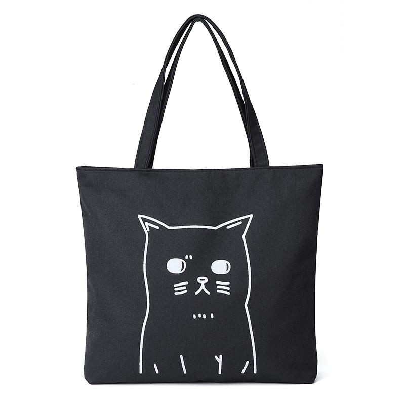 AEQUEEN Large Black Canvas Tote Bag Fabric Cotton Cloth Reusable Shopping  Bag Women Beach Handbags Cats Printed Grocery Bags Big S920 Leather Handbags  ... 95ae23fe15db