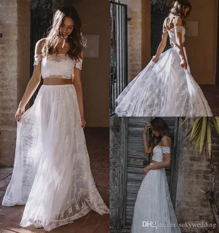 compre 2019 vestidos de novia de encaje bohemio dos piezas fuera del
