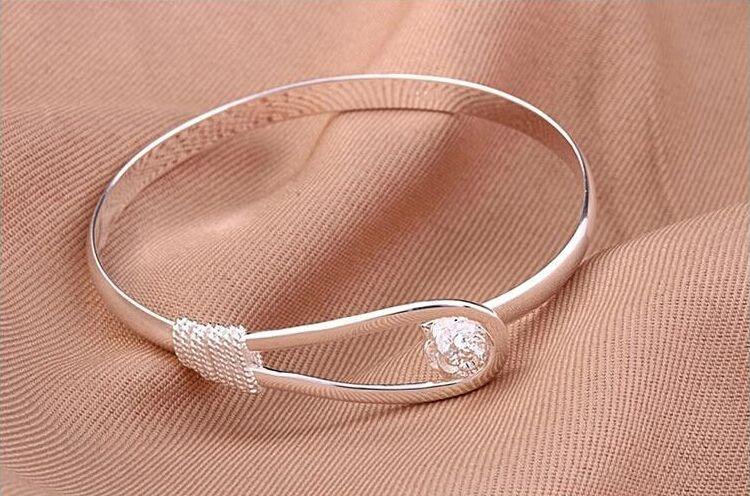 Романтический цветок браслет стерлингового серебра 925 браслет для женщин Fahion Сакура браслеты открытые манжеты браслет Роза браслеты свадебные украшения