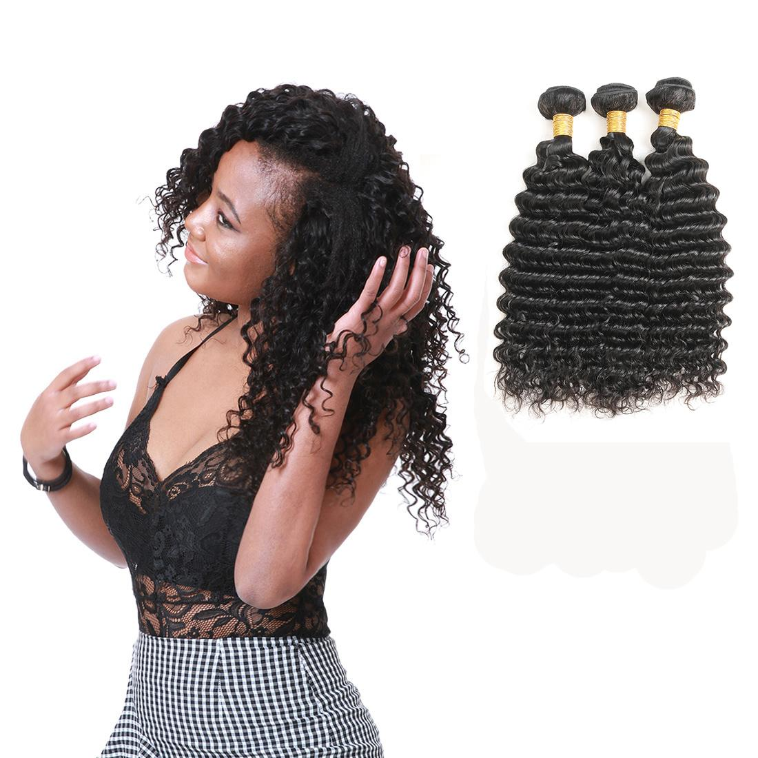 Malaysian Virgin Human Hair Deep Wave 3 Bundles Cuticle Aligned Hair