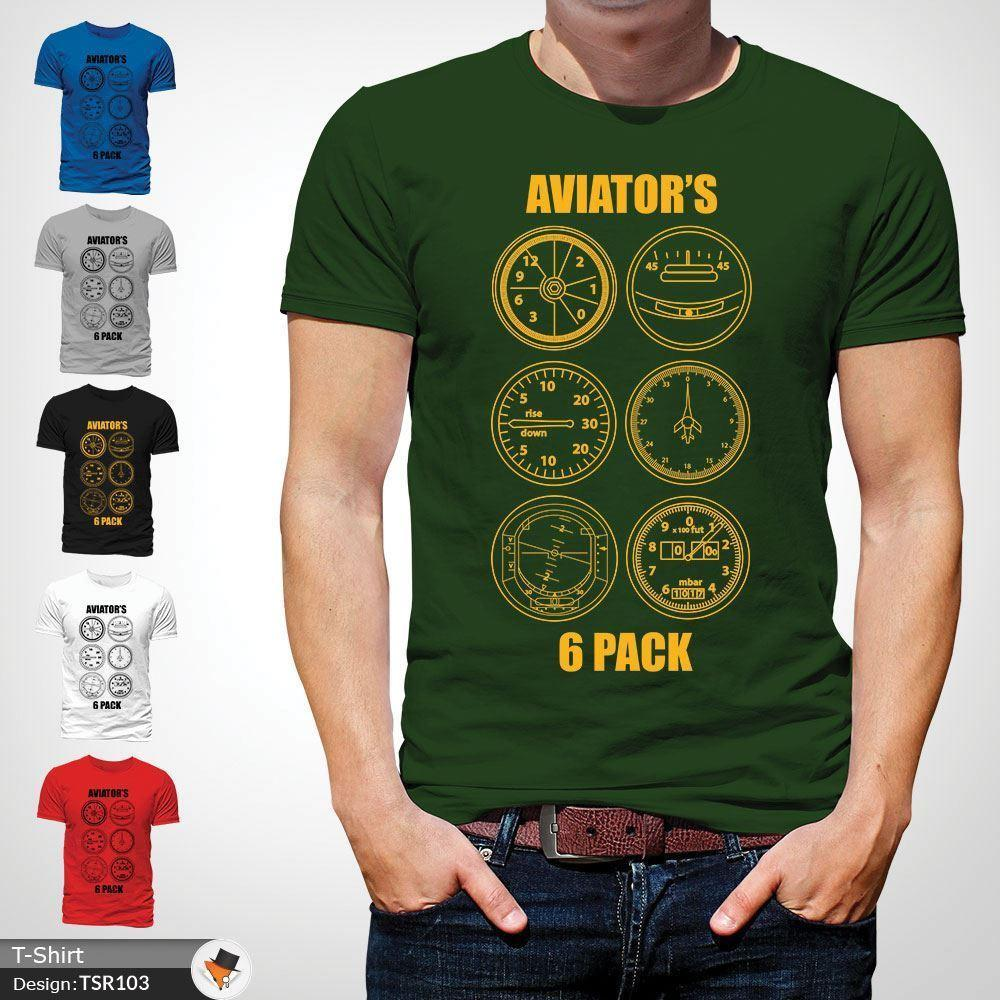 2ca2c7434 Aviator'S Six Pack T Shirt Aeroplane Aircraft Plane Pilot Gift Mens Top  Green ! Casual Funny Unisex Tee Gift Free T Shirts T Shirts Deals From  Stop_to_shop, ...